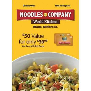 Noodles & Company Gift Card - 2/$25