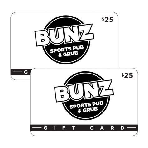 Bunz Sports Pub & Grub $50 Value Gift Cards -2 x $25