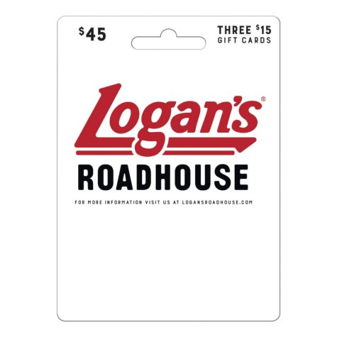 Logan's Roadhouse $45 Value Gift Cards - 3 x $15