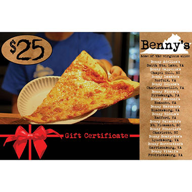Benny's 2 x $25 for $40