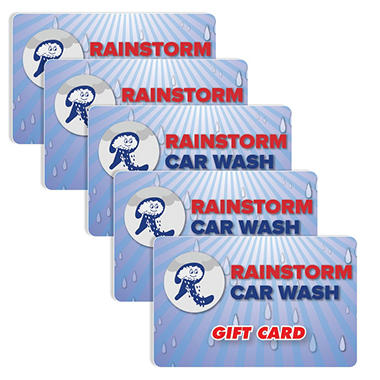 Rainstorm Express Car Wash $50 Value Gift Cards - 5 x $10