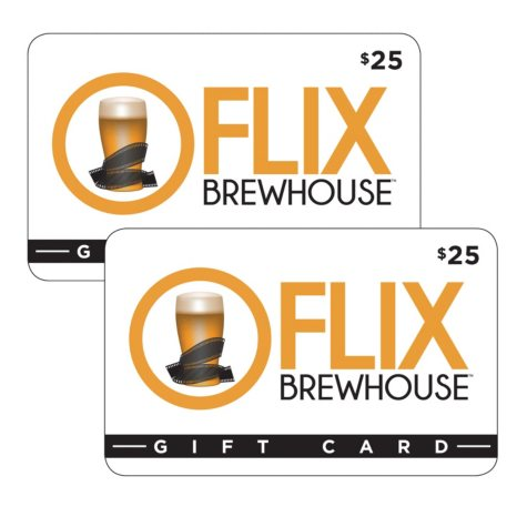 Flix Brewhouse $50 Value Gift Cards - 2 x $25