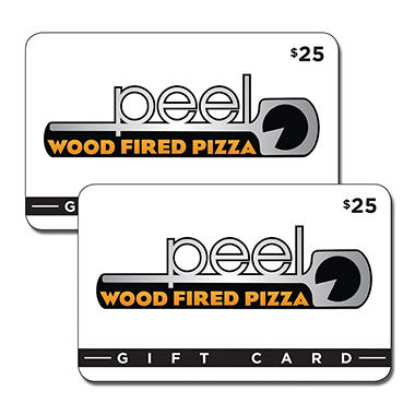 Peel Wood Fire Pizza $50 Value Gift Cards - 2 x $25