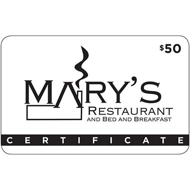 Mary's Restaurant and Bed & Breakfast - 1 x $50 for $40