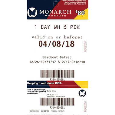 Monarch Mountain -3 x $84 for $139.99