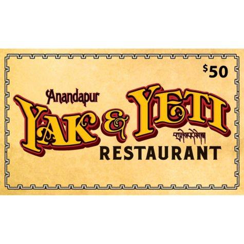 Yak & Yeti (Landry's) - 2 x $50 plus $20 bonus