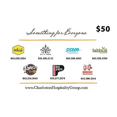Charleston Hospitality Group (SC) $100 Value Gift Cards - 2 x $50