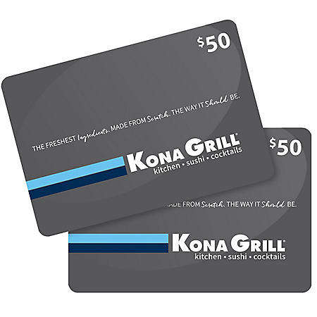 Kona Grill $100 Value Gift Cards - 2 x $50