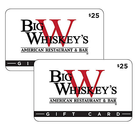 Big Whiskey's American Restaurant & Bar (AR, MO) $50 Value Gift Cards - 2 x $25