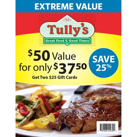 Tully's Good Time $50 Value Gift Cards - 2 x $25
