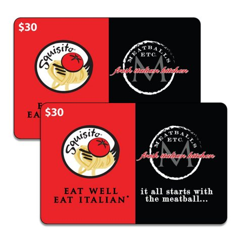 Squisito Pizza, Pasta/Meatballs, Etc. - 2 x $30