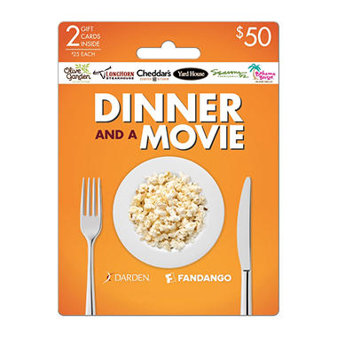 darden fandango dinner and a movie gift cards 2 x 25