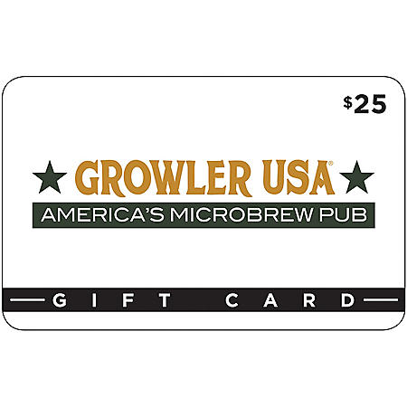 Growler USA $50 Value Gift Cards- 2 x $25