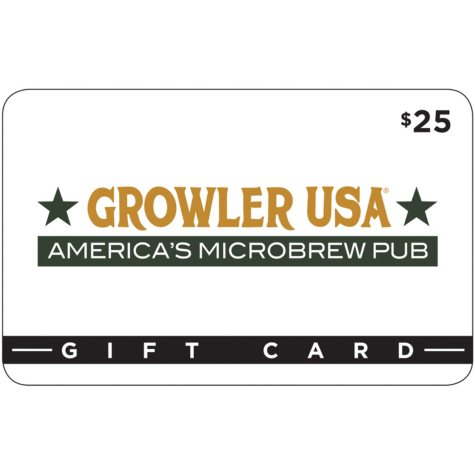 Growler USA $50 Value Gift Cards - 2 x $25