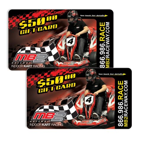 MB2 Raceway $100 Value Gift Cards - 2 x $50
