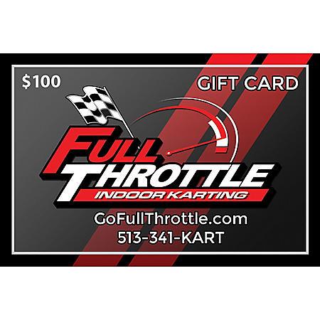 Full Throttle Indoor Karting $100 Gift Card