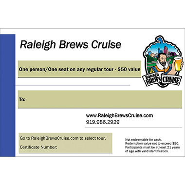 Raleigh Brews Cruise $50 Value Gift Cards - 2 x $50
