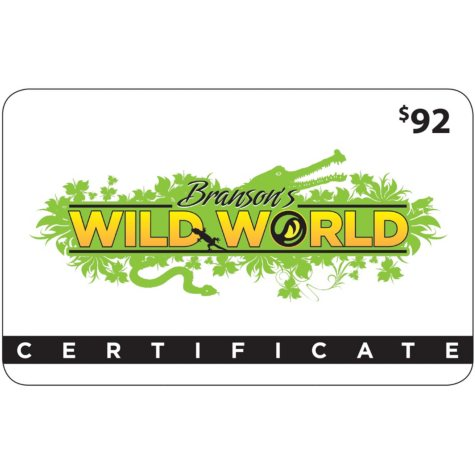 Branson's Wild World & Wild Valley Adventure Gift Card - $91.50 Value