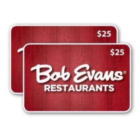 Bob Evans $50 Value Gift Cards - 2 x $25 - Sam's Club