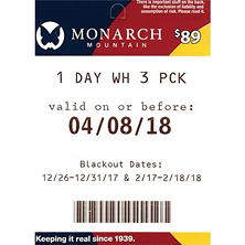 Monarch Mountain $267 Value Gift Cards - 3 x $89