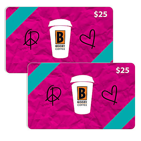Biggby Coffee $50 Value Gift Cards - 2 x $25