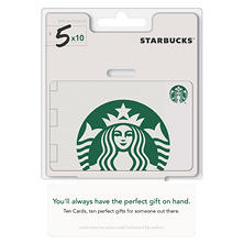 Starbucks $50 Value Gift Cards - 10 x $5