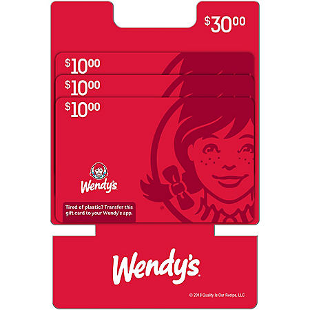 Wendy's $30 Value Gift Cards - 3 x $10