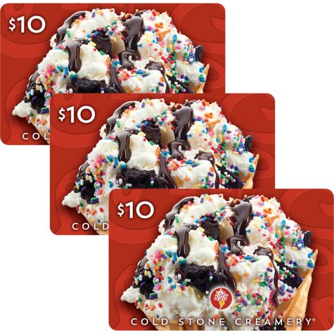 Cold Stone Creamery $30 Value Gift Cards - 3 x $10