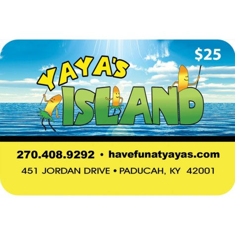Yaya's Island (Paducah, KY) $50 Value Gift Cards - 2 x $25