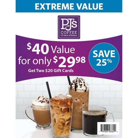 PJ's Coffee $40 Value Gift Cards - 2 x $20