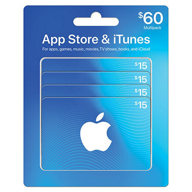 Apple iTunes $60 Multi-Pack - 4/$15 Gift Cards
