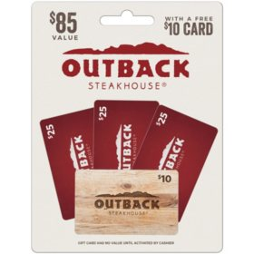 Outback Steakhouse $75 Value Gift Cards - 3 x $25 Gift Cards with a Bonus $10 Card