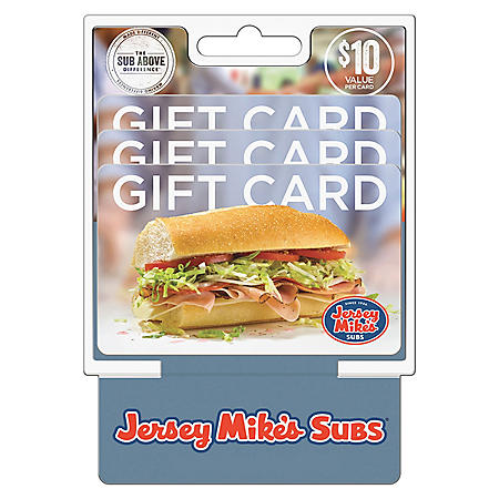 Jersey Mike's $30 Value Gift Cards - 3 x $10
