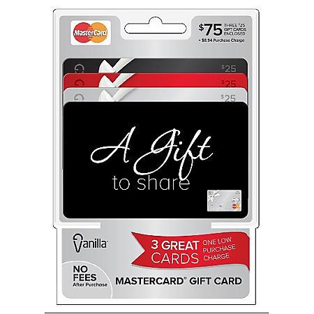 Vanilla MasterCard $75 Multi-Pack - 3/$25 Gift Cards