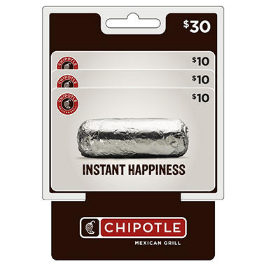 Chipotle $30 Multi-Pack - 3/$10 Gift Cards