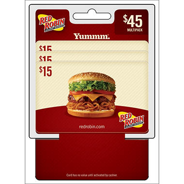 Red Robin $45 Multi-Pack - 3/$15 Gift Cards