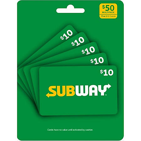 Subway $50 Value Gift Cards - 5 x $10