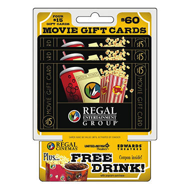 regal movie theatres 60 multi pack 415 gift cards