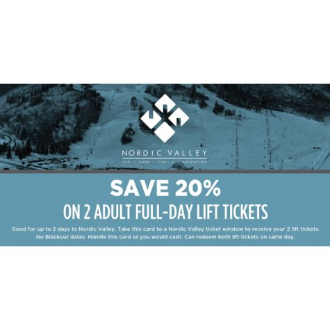 Nordic Valley $100 Value All Day Adult Tickets - 2 x $50