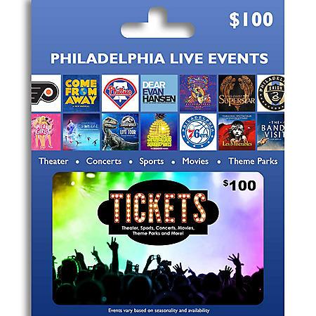 Tickets Card Philadelphia & Reading Live Events $100 Value