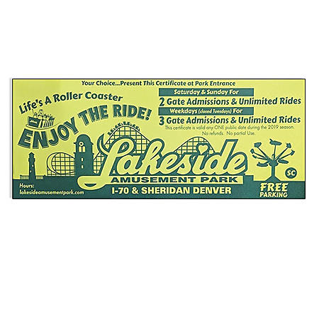 Lakeside Park Co $54 Value Certificate - Good for 3 Weekday Tickets or 2 Weekend Tickets