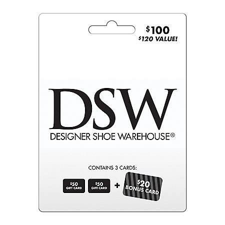 DSW $100 Gift Card Multi-Pack  + $20 Bonus Card