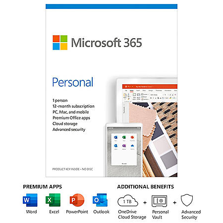 Microsoft 365 Personal | 12-Month Subscription, 1 person | Premium Office apps | 1TB OneDrive cloud storage | PC/Mac Keycard