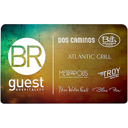 BR Guest Restaurants (Landry's) - Atlantic Grill, Bill's Bar, Blue Fin, Blue Water, Dos Cominos, Metro Oyster, Strip House, Troy's $90 Value Gift Cards - 3 x $25 Plus $15 Bonus Card