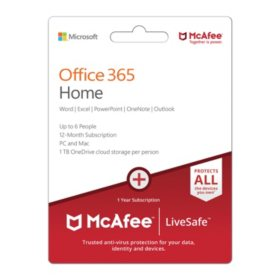 Microsoft Office 365 Home McAfee LiveSafeMP