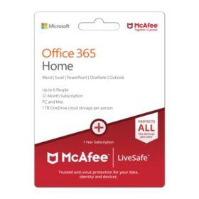 Microsoft Office 365 Home 2019 McAfee LiveSafeMP
