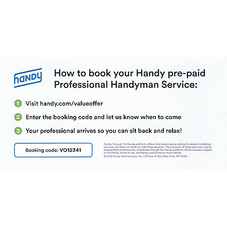 Handy.com 2 Hours of Professional Handyman Services - $100 Value
