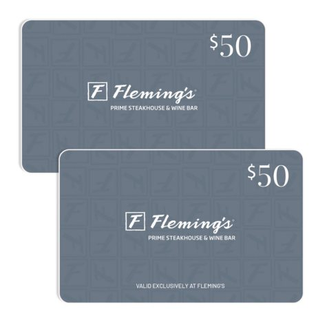 Fleming's Prime Steakhouse $100 Value Gift Cards - 2 x $50