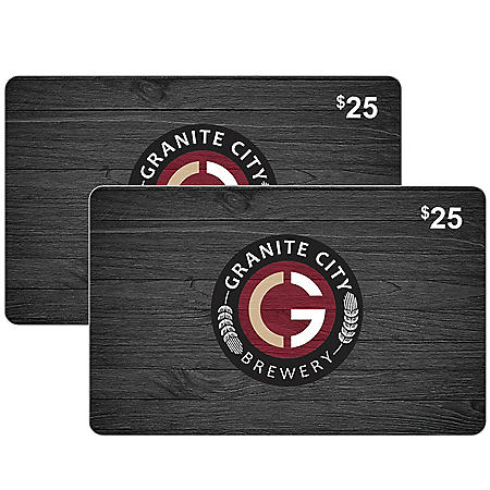 Granite City Brewery $50 Value Gift Cards - 2 x $25