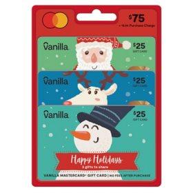 Holiday Vanilla Mastercard® $75 Value Gift Cards - 3 x $25